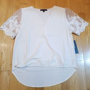Kaii Scallop Lace Sleeve High Low Cross Front Top